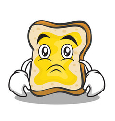 Sad face bread character cartoon vector