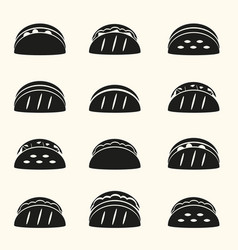 Set of black tortilla tacos food icons set eps10 vector