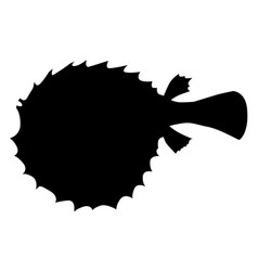 Silhouette of fish-hedgehog vector