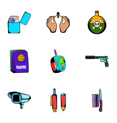 Spy icons set cartoon style vector