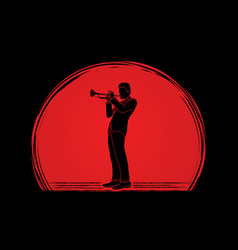 trumpeter player a man play trumpet classic music vector image vector image