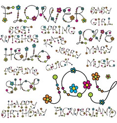 Words with flower letters vector