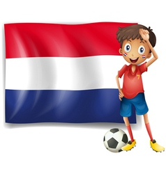 The flag of Netherlands with a soccer player vector image