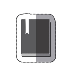 Middle shadow sticker grayscale with book with vector