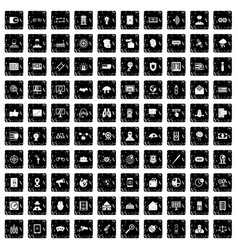 100 security icons set grunge style vector