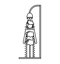 monochrome contour of woman in the shower vector image