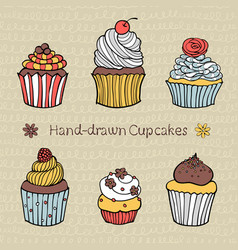 set of hand-drawn cupcakes vector image