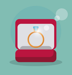 box and ring wedding symbol vector image