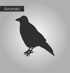 black and white style icon of raven vector image
