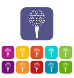 Golf ball on a tee icons set flat vector