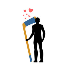 Lover hockey man and hockey stick love sport game vector