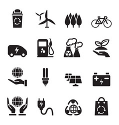 Silhouette save the world icons set vector
