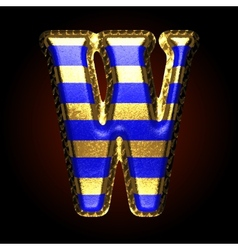 Golden and blue letter w vector