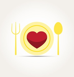 Love heart romantic meal vector