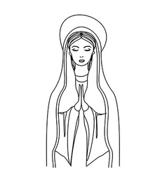 Blessed virgin mary in black and white contour vector