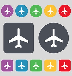 Airplane icon sign a set of 12 colored buttons vector