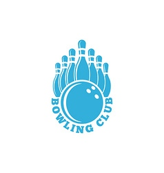 Bowling club logo blue sport emblem with ball and vector