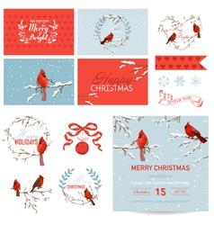Design Elements - Vintage Christmas Birds vector image