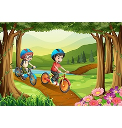 Two boys riding bicycle in the park vector