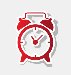 Alarm clock sign new year reddish icon vector