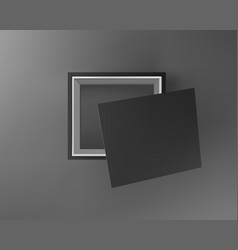 black empty box on black background top view vector image vector image