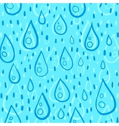 Blue water drops rainy seamless pattern vector image vector image