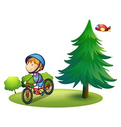 Boy and bike vector image vector image
