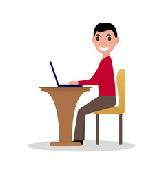 cartoon man working at laptop vector image