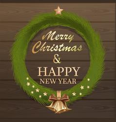 Christmas fir wreath on wooden background vector