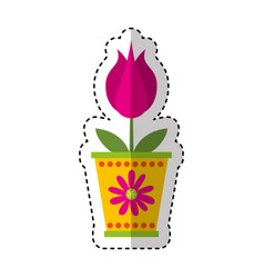 Cute flower in pot nature icon vector