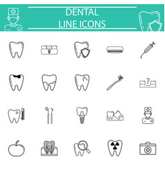 dental line icon set vector image vector image
