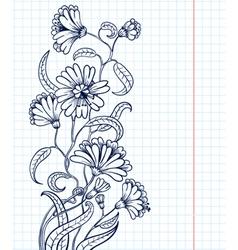 doodle floral sketchy frame vector image vector image