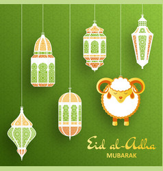 eid al adha background islamic arabic lantern and vector image vector image