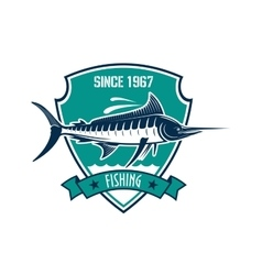 Fishing sport heraldic badge with blue marlin fish vector image