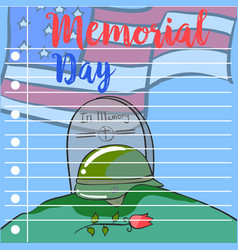 Memorial day hand draw greeting card vector