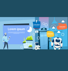 Modern office business robots group working vector