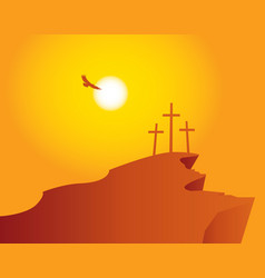 Mountain calvary with crosses with sky and sun vector