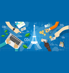 paris agreement climate accord carbon emission vector image vector image