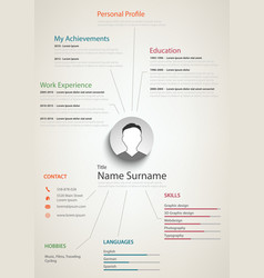 Professional retro resume cv with background links vector