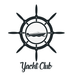 Retro styled badge with yacht and vector