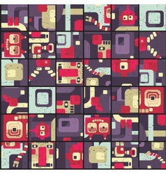 Robot seamless pattern in puzzle vector image vector image
