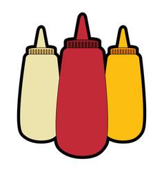 Sauce bottles icon vector