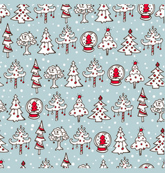 Seamless christmas pattern with christmas trees vector