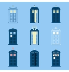 Set of british police boxes icons telephone in vector