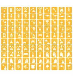 Set of camp cooking icons on eps pointers vector