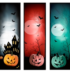 Set of holiday Halloween banners vector image vector image