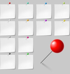 Sticky notes with pushpins vector image vector image