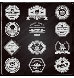 Vintage bakery chalkboard labels set vector image vector image