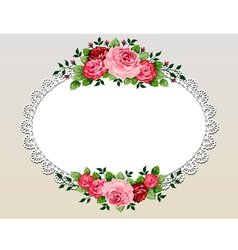 vintage roses bouquet frame vector image vector image