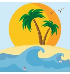 Palm trees beach seashells sunset and waves vector